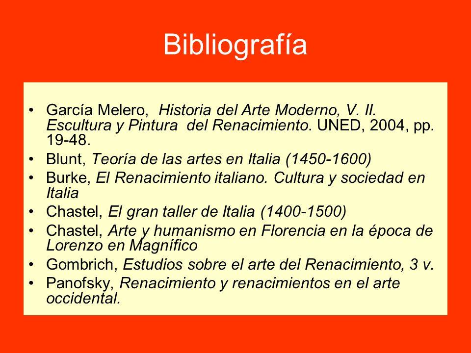 Bibliografía García Melero, Historia del Arte Moderno, V. II. Escultura y Pintura del Renacimiento. UNED, 2004, pp. 19-48. Blunt, Teoría de las artes