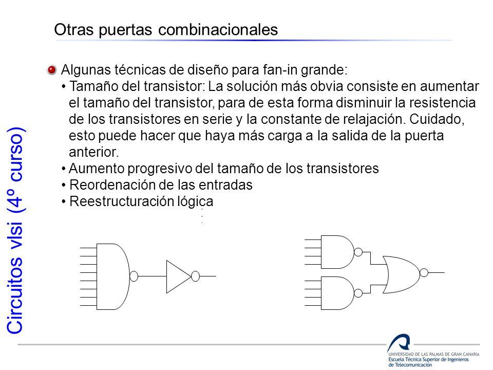Circuitos vlsi (4º curso) Otras puertas combinacionales Algunas técnicas de diseño para fan-in grande: Tamaño del transistor: La solución más obvia co