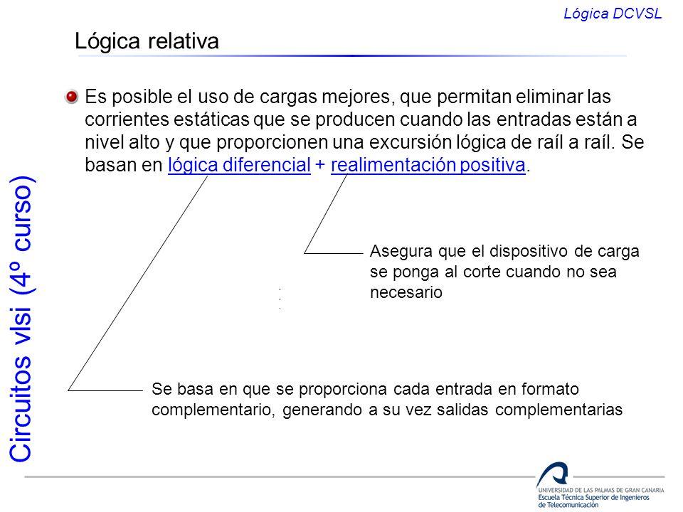 Circuitos vlsi (4º curso) Lógica relativa Es posible el uso de cargas mejores, que permitan eliminar las corrientes estáticas que se producen cuando l