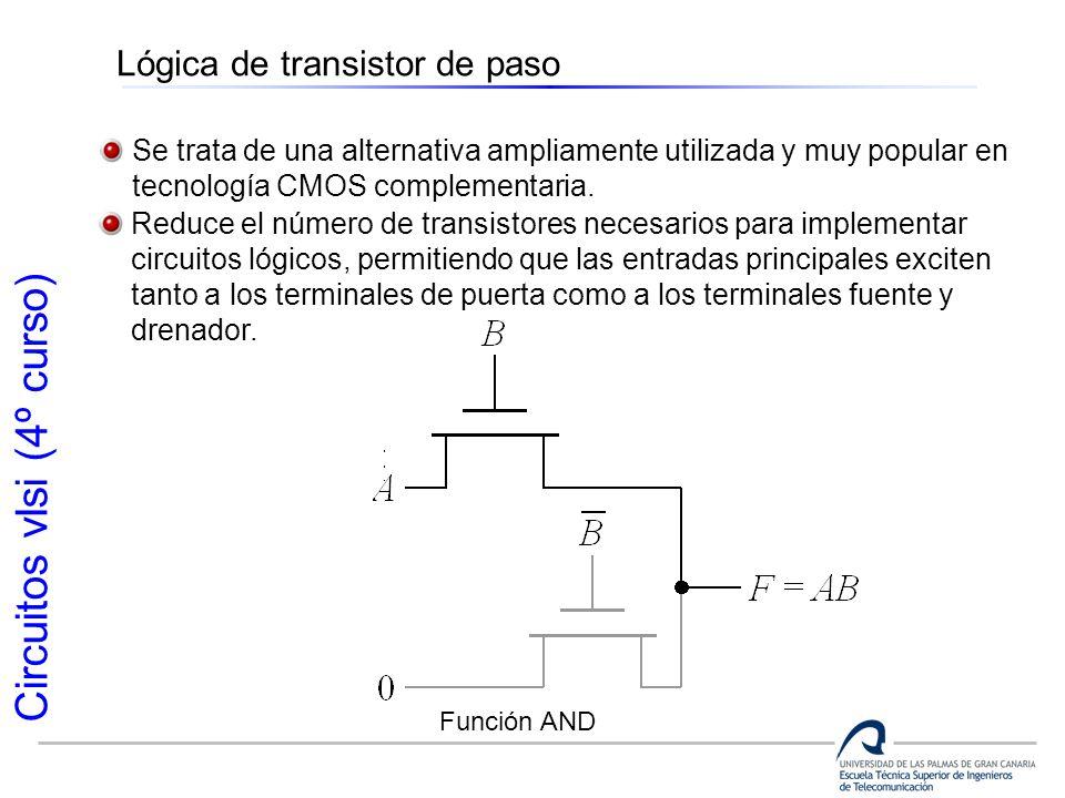Circuitos vlsi (4º curso) Lógica de transistor de paso Se trata de una alternativa ampliamente utilizada y muy popular en tecnología CMOS complementar