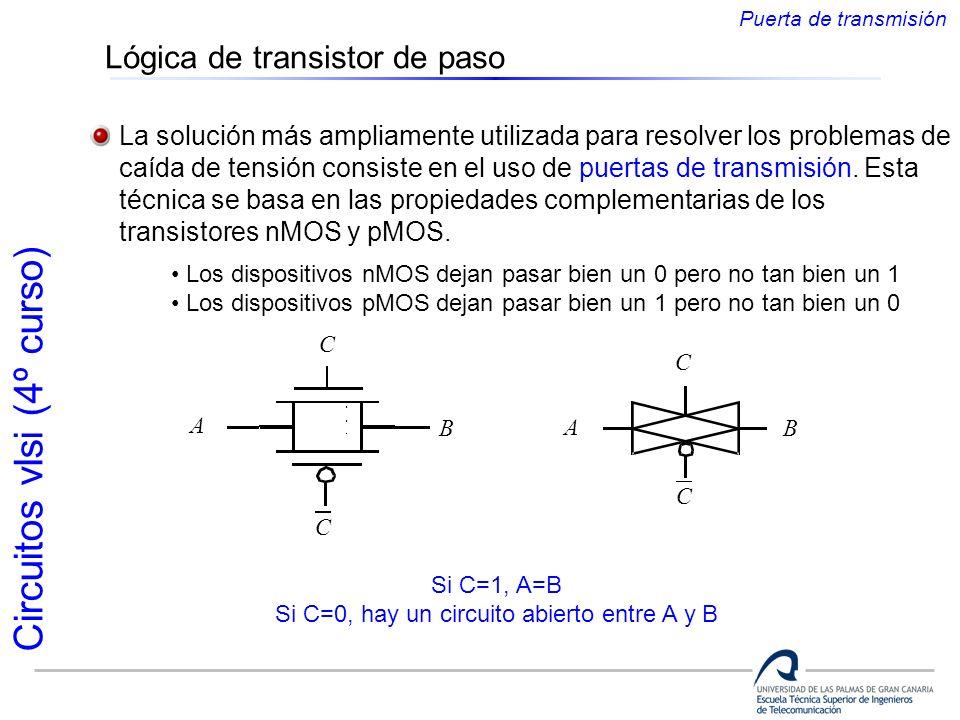 Circuitos vlsi (4º curso) Lógica de transistor de paso La solución más ampliamente utilizada para resolver los problemas de caída de tensión consiste
