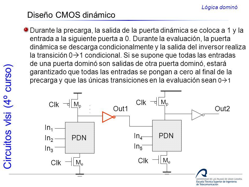Circuitos vlsi (4º curso) Diseño CMOS dinámico Durante la precarga, la salida de la puerta dinámica se coloca a 1 y la entrada a la siguiente puerta a