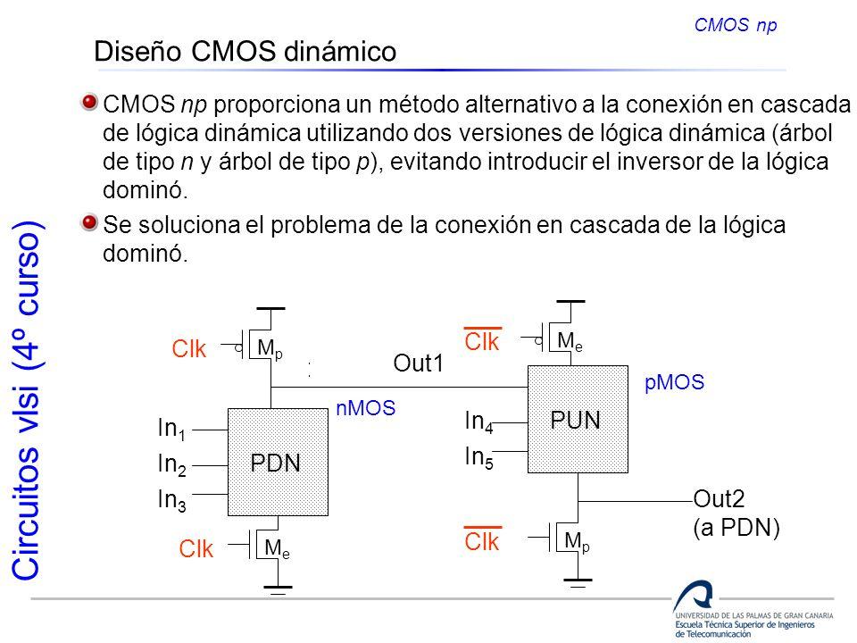 Circuitos vlsi (4º curso) Diseño CMOS dinámico CMOS np CMOS np proporciona un método alternativo a la conexión en cascada de lógica dinámica utilizand
