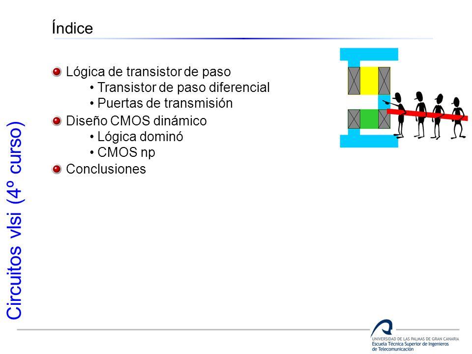 Circuitos vlsi (4º curso) Índice Lógica de transistor de paso Transistor de paso diferencial Puertas de transmisión Diseño CMOS dinámico Lógica dominó