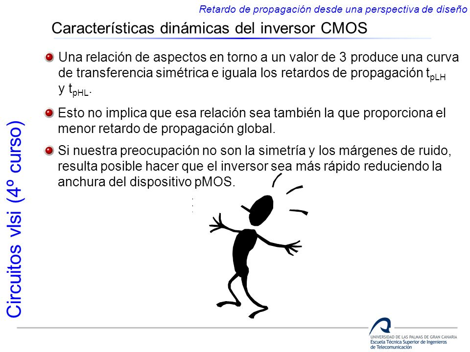 Circuitos vlsi (4º curso) Características dinámicas del inversor CMOS Retardo de propagación desde una perspectiva de diseño Una relación de aspectos