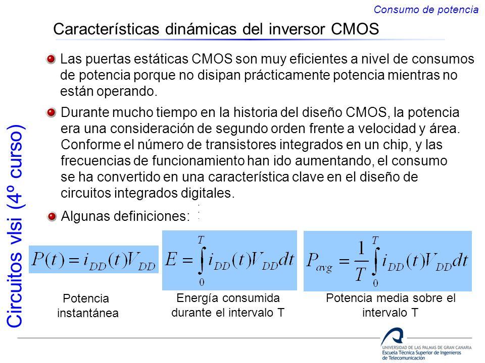 Circuitos vlsi (4º curso) Características dinámicas del inversor CMOS Las puertas estáticas CMOS son muy eficientes a nivel de consumos de potencia po