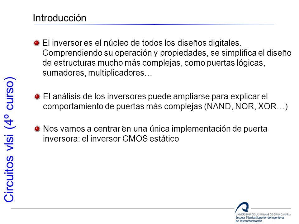 Circuitos vlsi (4º curso) Introducción El inversor es el núcleo de todos los diseños digitales. Comprendiendo su operación y propiedades, se simplific