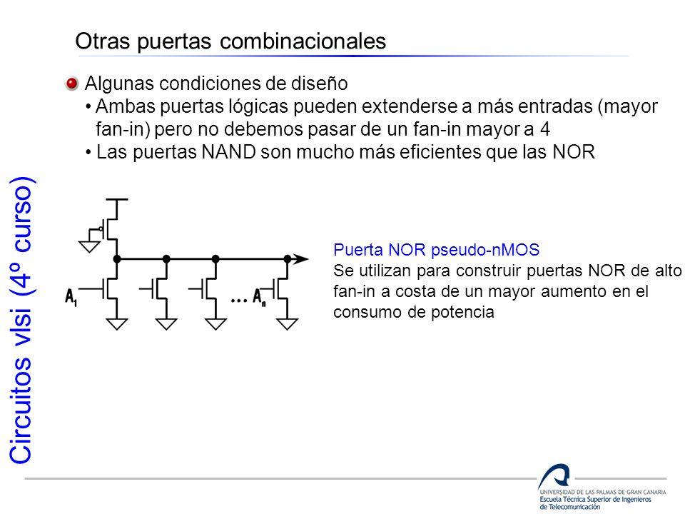 Circuitos vlsi (4º curso) Otras puertas combinacionales Algunas condiciones de diseño Ambas puertas lógicas pueden extenderse a más entradas (mayor fa