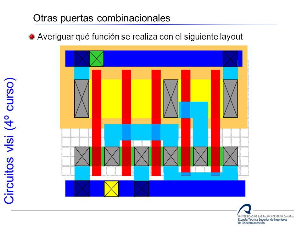 Circuitos vlsi (4º curso) Otras puertas combinacionales Averiguar qué función se realiza con el siguiente layout