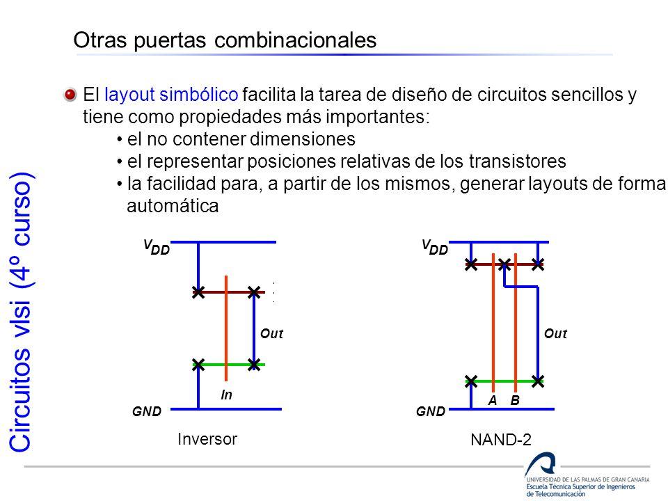 Circuitos vlsi (4º curso) Otras puertas combinacionales El layout simbólico facilita la tarea de diseño de circuitos sencillos y tiene como propiedade