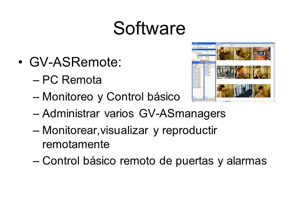 Software GV-ASRemote: –PC Remota –Monitoreo y Control básico –Administrar varios GV-ASmanagers –Monitorear,visualizar y reproductir remotamente –Control básico remoto de puertas y alarmas