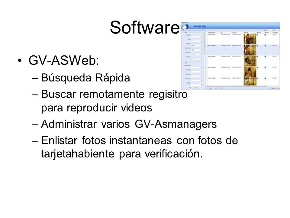 Software GV-ASWeb: –Búsqueda Rápida –Buscar remotamente regisitro para reproducir videos –Administrar varios GV-Asmanagers –Enlistar fotos instantaneas con fotos de tarjetahabiente para verificación.