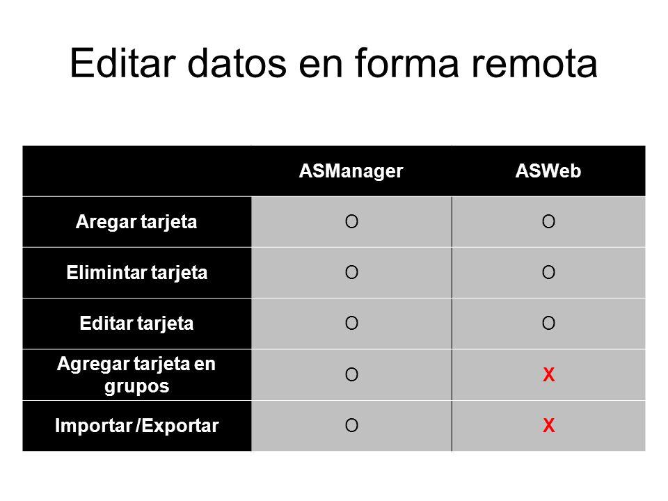 Editar datos en forma remota ASManagerASWeb Aregar tarjetaOO Elimintar tarjetaOO Editar tarjetaOO Agregar tarjeta en grupos OX Importar /ExportarOX