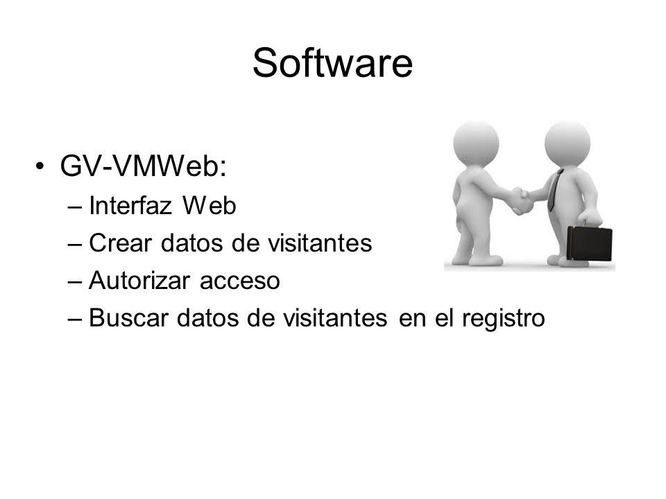 Software GV-VMWeb: –Interfaz Web –Crear datos de visitantes –Autorizar acceso –Buscar datos de visitantes en el registro