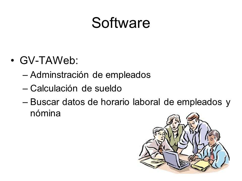 Software GV-TAWeb: –Adminstración de empleados –Calculación de sueldo –Buscar datos de horario laboral de empleados y nómina