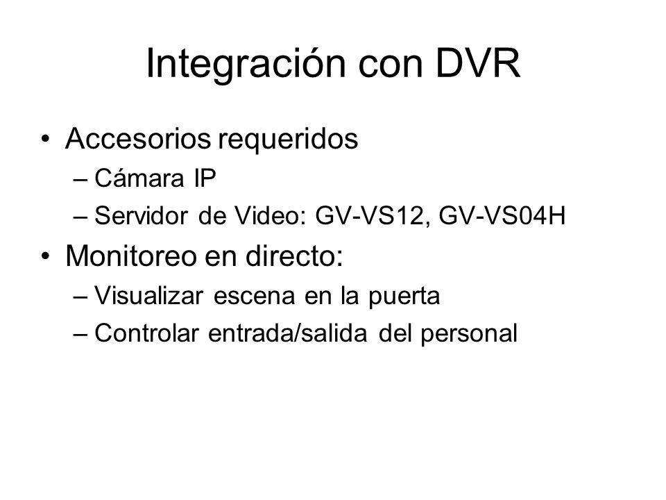 Integración con DVR Accesorios requeridos –Cámara IP –Servidor de Video: GV-VS12, GV-VS04H Monitoreo en directo: –Visualizar escena en la puerta –Controlar entrada/salida del personal