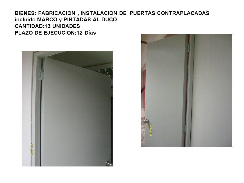 BIENES: FABRICACION, INSTALACION DE PUERTAS CONTRAPLACADAS incluido MARCO y PINTADAS AL DUCO CANTIDAD:13 UNIDADES PLAZO DE EJECUCION:12 Días