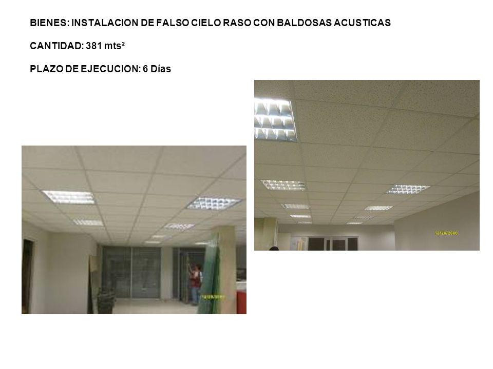 BIENES: INSTALACION DE FALSO CIELO RASO CON BALDOSAS ACUSTICAS CANTIDAD: 381 mts² PLAZO DE EJECUCION: 6 Días