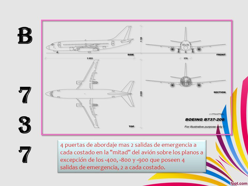 B737B737 4 puertas de abordaje mas 2 salidas de emergencia a cada costado en la mitad del avión sobre los planos a excepción de los -400, -800 y -900 que poseen 4 salidas de emergencia, 2 a cada costado.