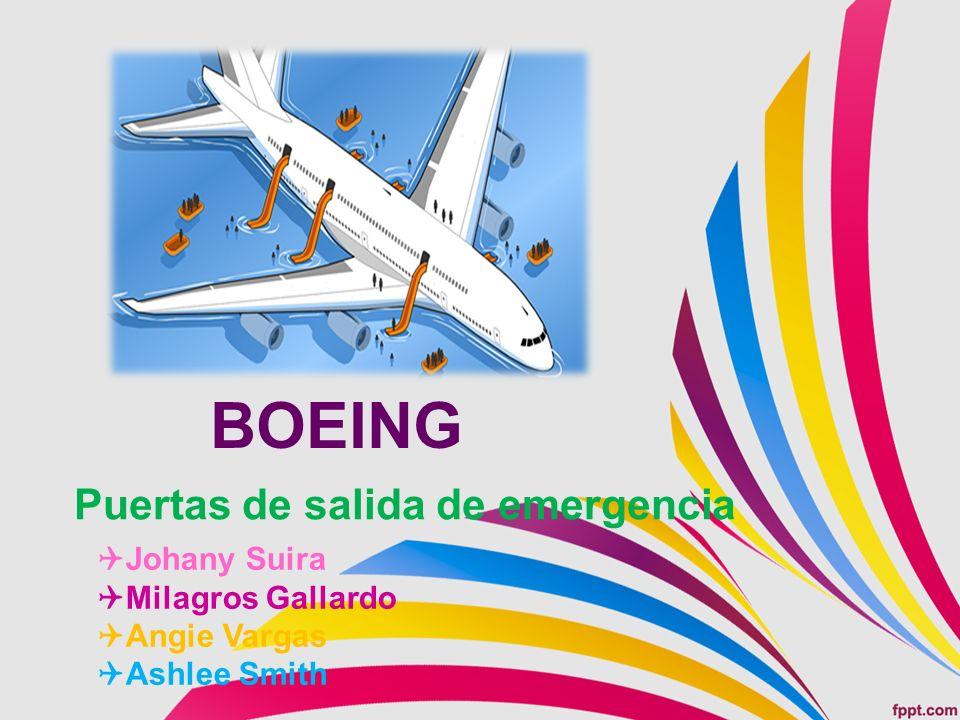 BOEING Puertas de salida de emergencia Johany Suira Milagros Gallardo Angie Vargas Ashlee Smith