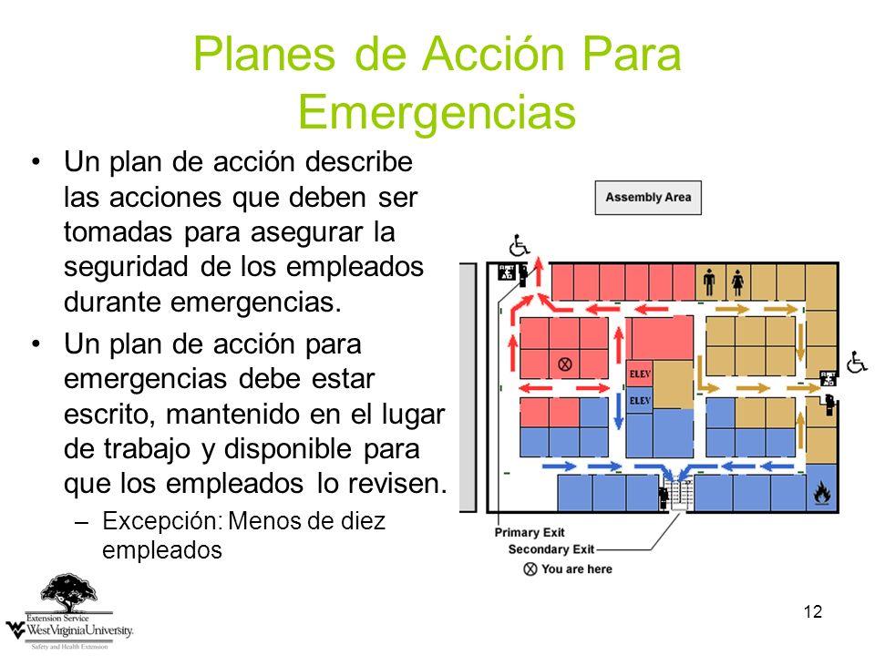 12 Planes de Acción Para Emergencias Un plan de acción describe las acciones que deben ser tomadas para asegurar la seguridad de los empleados durante emergencias.