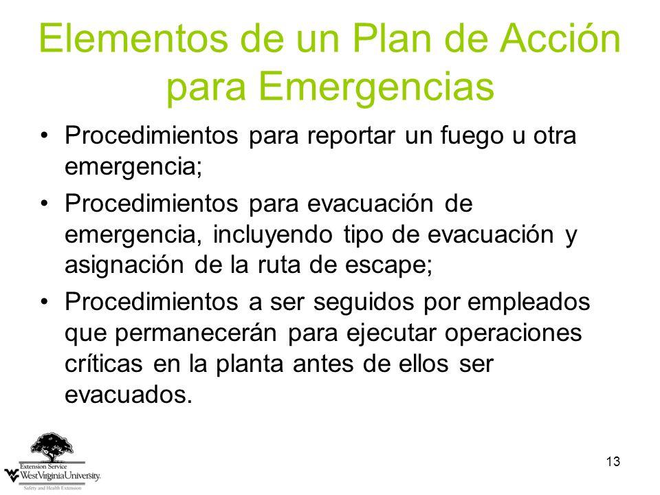 13 Elementos de un Plan de Acción para Emergencias Procedimientos para reportar un fuego u otra emergencia; Procedimientos para evacuación de emergenc