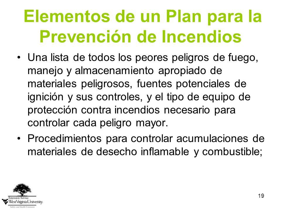 19 Elementos de un Plan para la Prevención de Incendios Una lista de todos los peores peligros de fuego, manejo y almacenamiento apropiado de material