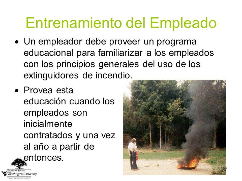 27 Entrenamiento del Empleado Provea esta educación cuando los empleados son inicialmente contratados y una vez al año a partir de entonces. Un emplea