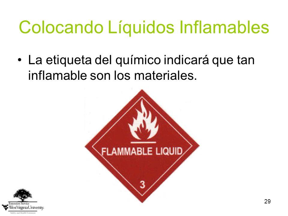 29 Colocando Líquidos Inflamables La etiqueta del químico indicará que tan inflamable son los materiales.