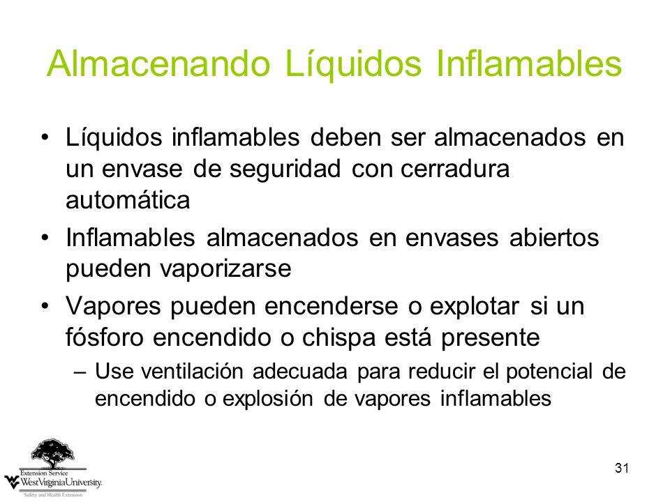 31 Almacenando Líquidos Inflamables Líquidos inflamables deben ser almacenados en un envase de seguridad con cerradura automática Inflamables almacena