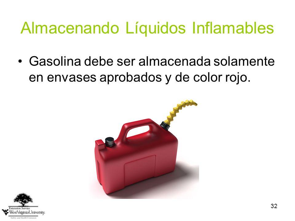 32 Almacenando Líquidos Inflamables Gasolina debe ser almacenada solamente en envases aprobados y de color rojo.