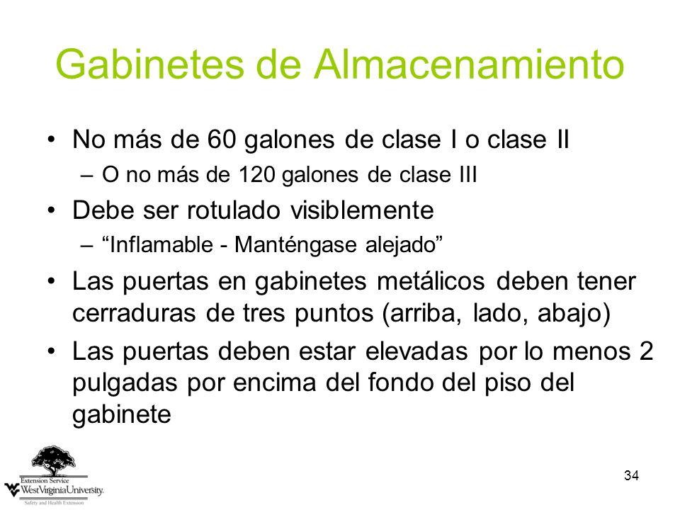 34 Gabinetes de Almacenamiento No más de 60 galones de clase I o clase II –O no más de 120 galones de clase III Debe ser rotulado visiblemente –Inflam