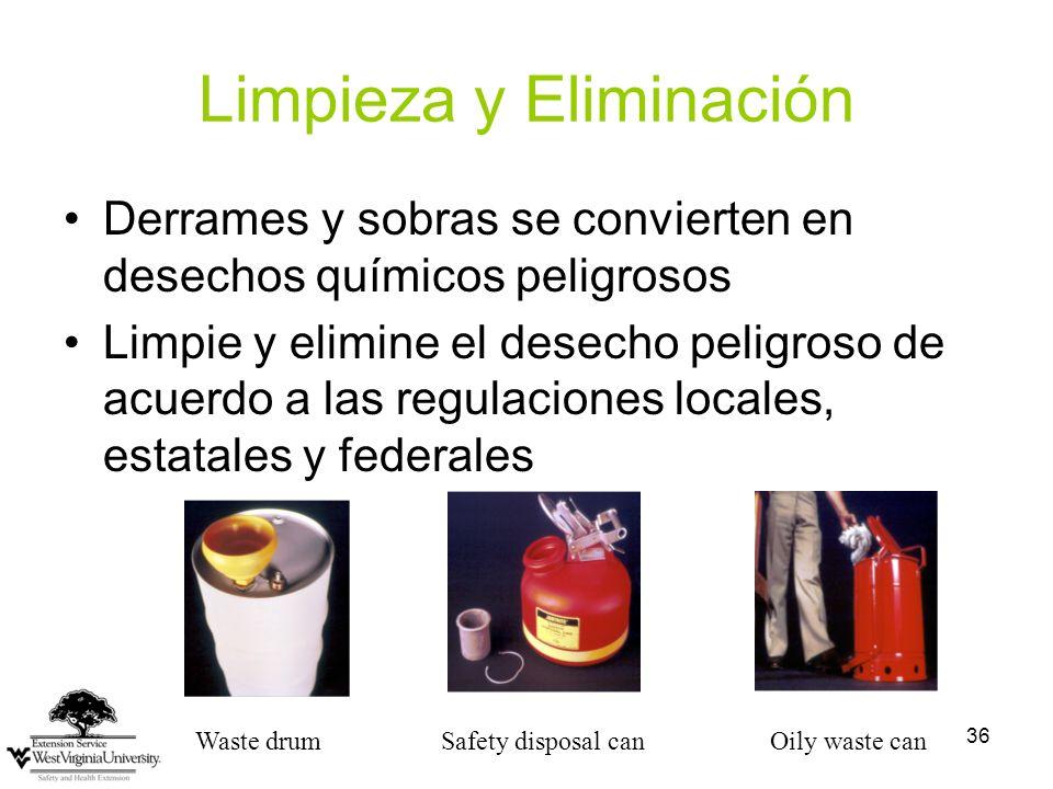 36 Limpieza y Eliminación Derrames y sobras se convierten en desechos químicos peligrosos Limpie y elimine el desecho peligroso de acuerdo a las regulaciones locales, estatales y federales Waste drumSafety disposal can Oily waste can
