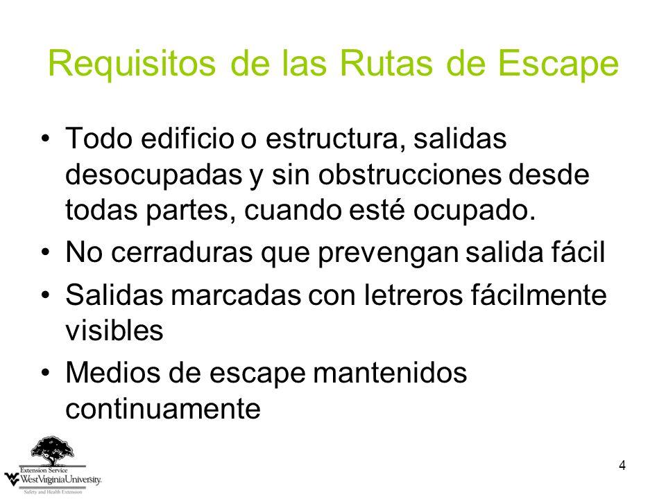 4 Requisitos de las Rutas de Escape Todo edificio o estructura, salidas desocupadas y sin obstrucciones desde todas partes, cuando esté ocupado.