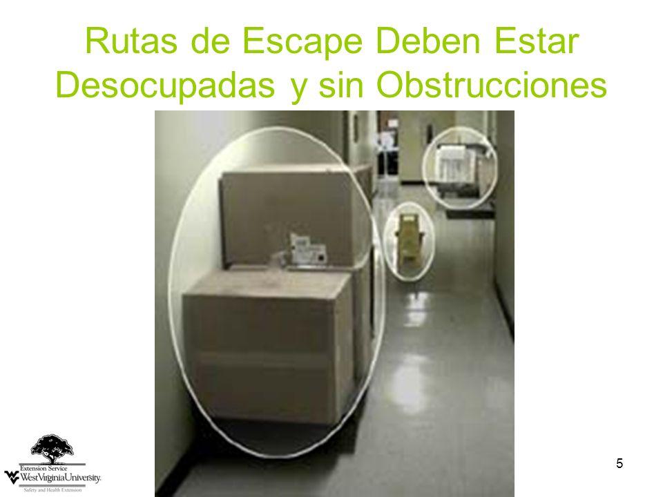 5 Rutas de Escape Deben Estar Desocupadas y sin Obstrucciones