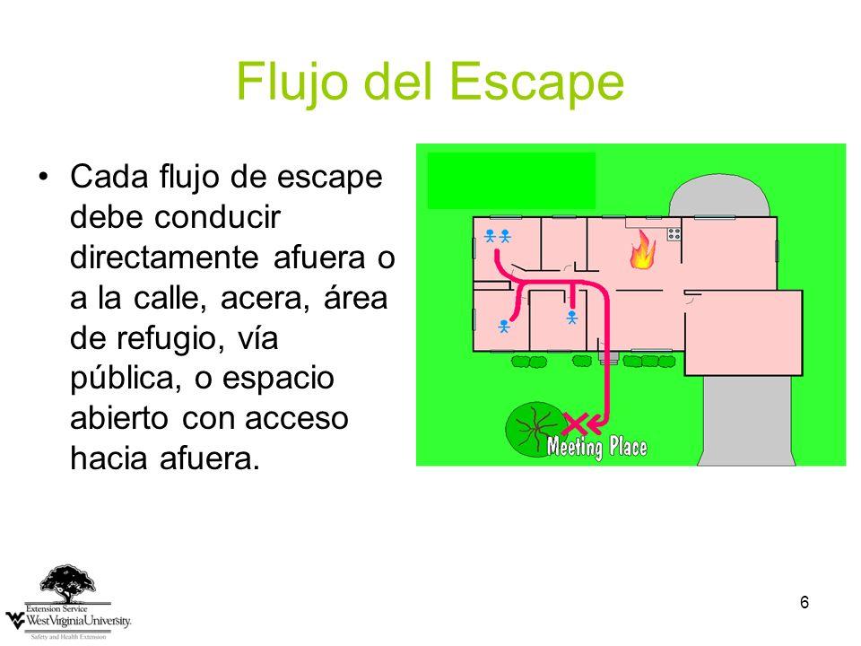 6 Flujo del Escape Cada flujo de escape debe conducir directamente afuera o a la calle, acera, área de refugio, vía pública, o espacio abierto con acceso hacia afuera.
