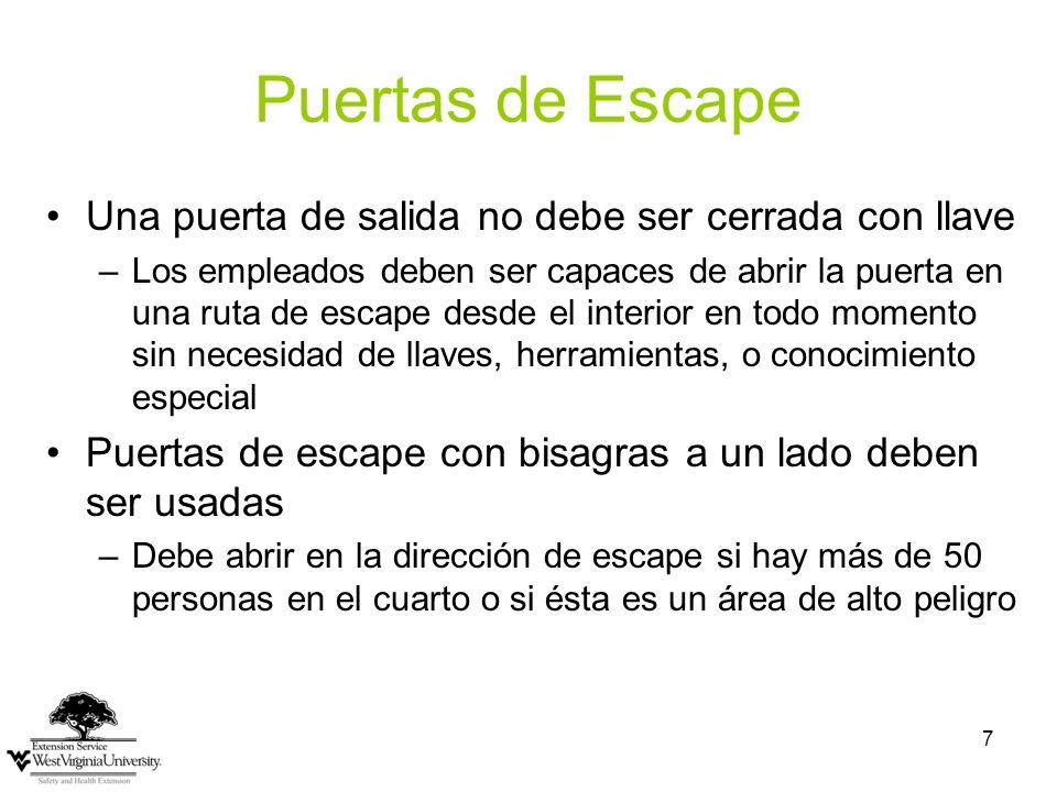 7 Puertas de Escape Una puerta de salida no debe ser cerrada con llave –Los empleados deben ser capaces de abrir la puerta en una ruta de escape desde