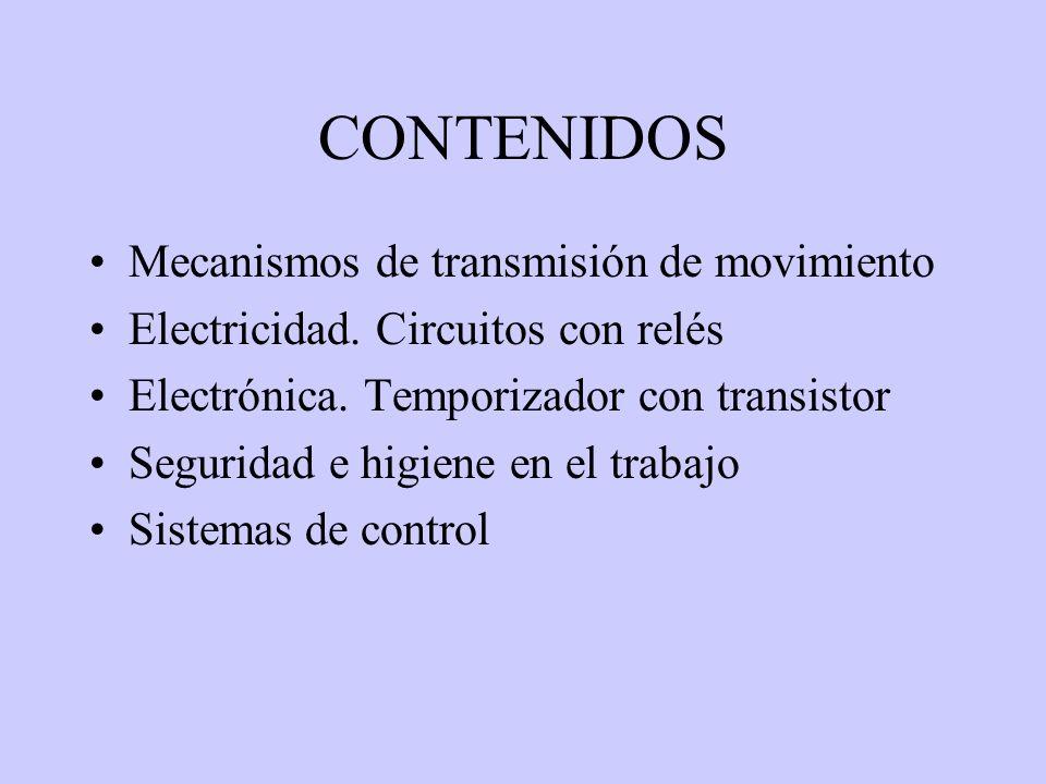 CONTENIDOS Mecanismos de transmisión de movimiento Electricidad. Circuitos con relés Electrónica. Temporizador con transistor Seguridad e higiene en e