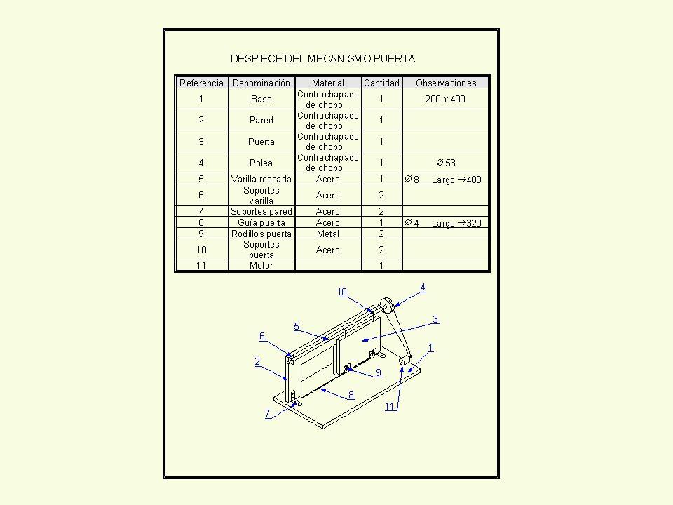 Proceso constructivo 1ª PARTE Corte de base, pared, puerta y polea.