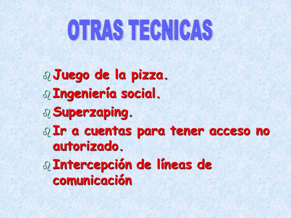 b Juego de la pizza. b Ingeniería social. b Superzaping. b Ir a cuentas para tener acceso no autorizado. b Intercepción de líneas de comunicación