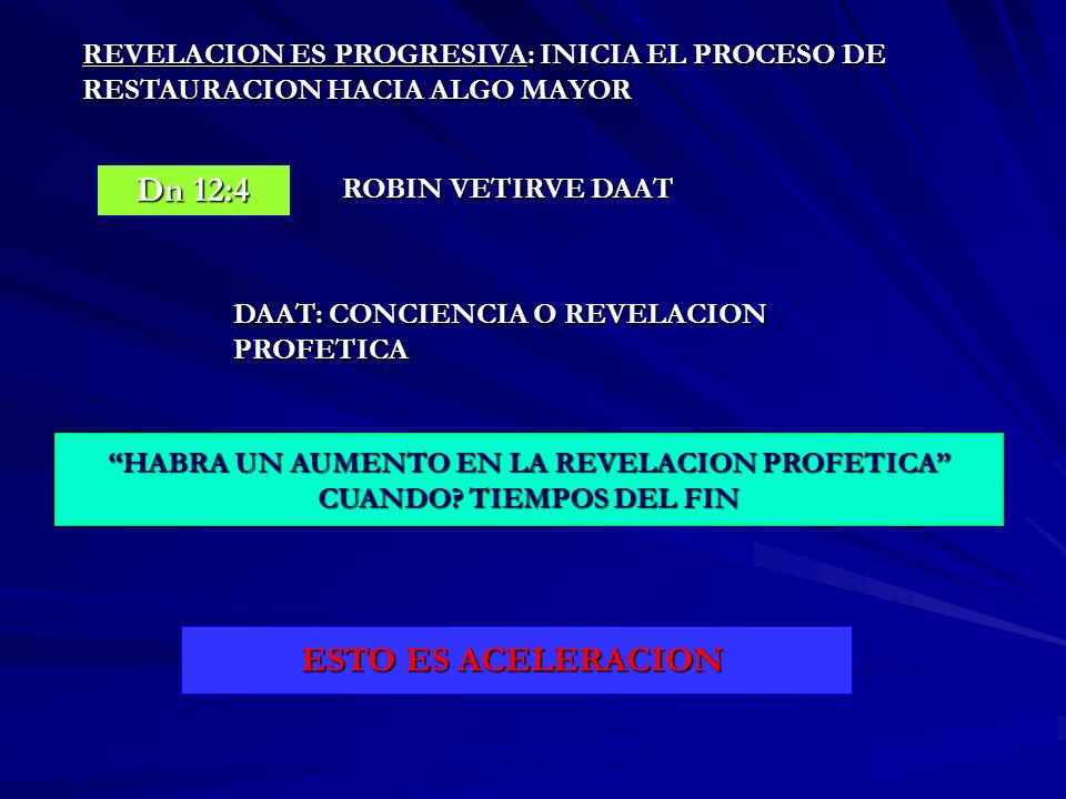 REVELACION ES PROGRESIVA: INICIA EL PROCESO DE RESTAURACION HACIA ALGO MAYOR Dn 12:4 ROBIN VETIRVE DAAT DAAT: CONCIENCIA O REVELACION PROFETICA HABRA