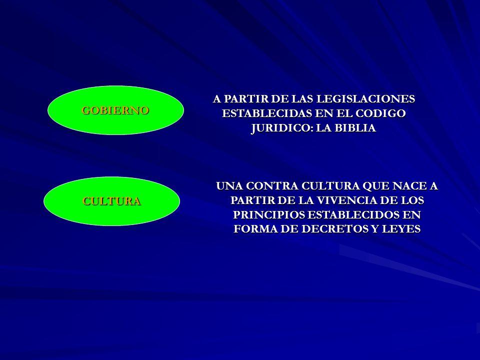 GOBIERNO CULTURA UNA CONTRA CULTURA QUE NACE A PARTIR DE LA VIVENCIA DE LOS PRINCIPIOS ESTABLECIDOS EN FORMA DE DECRETOS Y LEYES A PARTIR DE LAS LEGIS