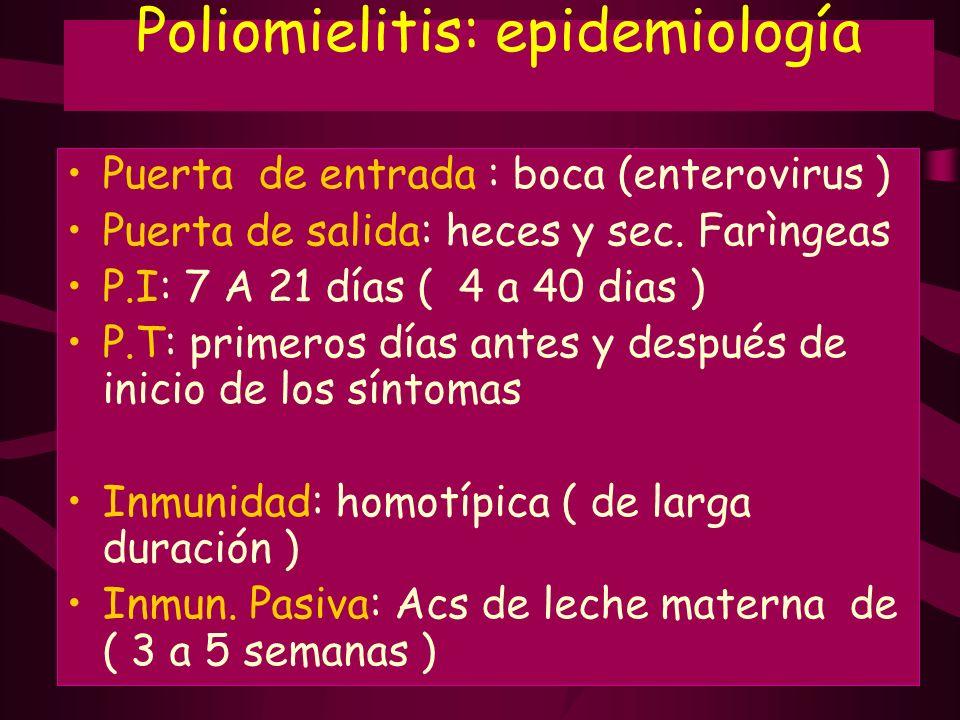 Poliomielitis: epidemiología Puerta de entrada : boca (enterovirus ) Puerta de salida: heces y sec. Farìngeas P.I: 7 A 21 días ( 4 a 40 dias ) P.T: pr