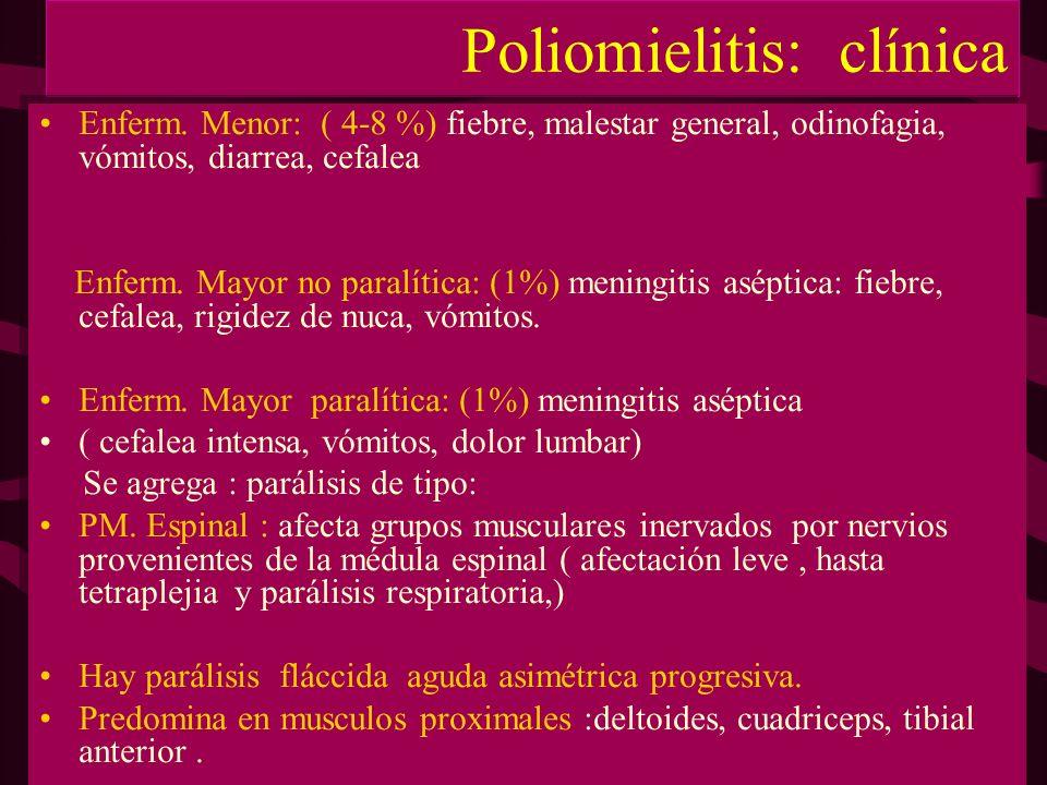 Poliomielitis: clínica Enferm. Menor: ( 4-8 %) fiebre, malestar general, odinofagia, vómitos, diarrea, cefalea Enferm. Mayor no paralítica: (1%) menin