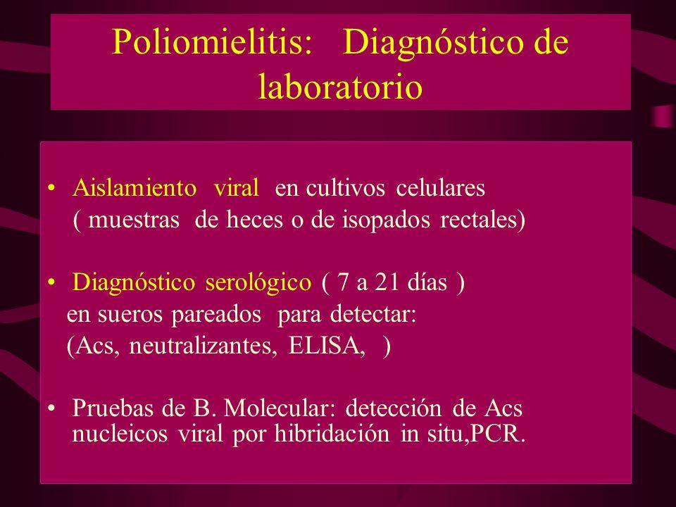 Poliomielitis: Diagnóstico de laboratorio Aislamiento viral en cultivos celulares ( muestras de heces o de isopados rectales) Diagnóstico serológico (