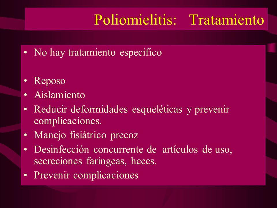 Poliomielitis: Tratamiento No hay tratamiento específico Reposo Aislamiento Reducir deformidades esqueléticas y prevenir complicaciones. Manejo fisiát