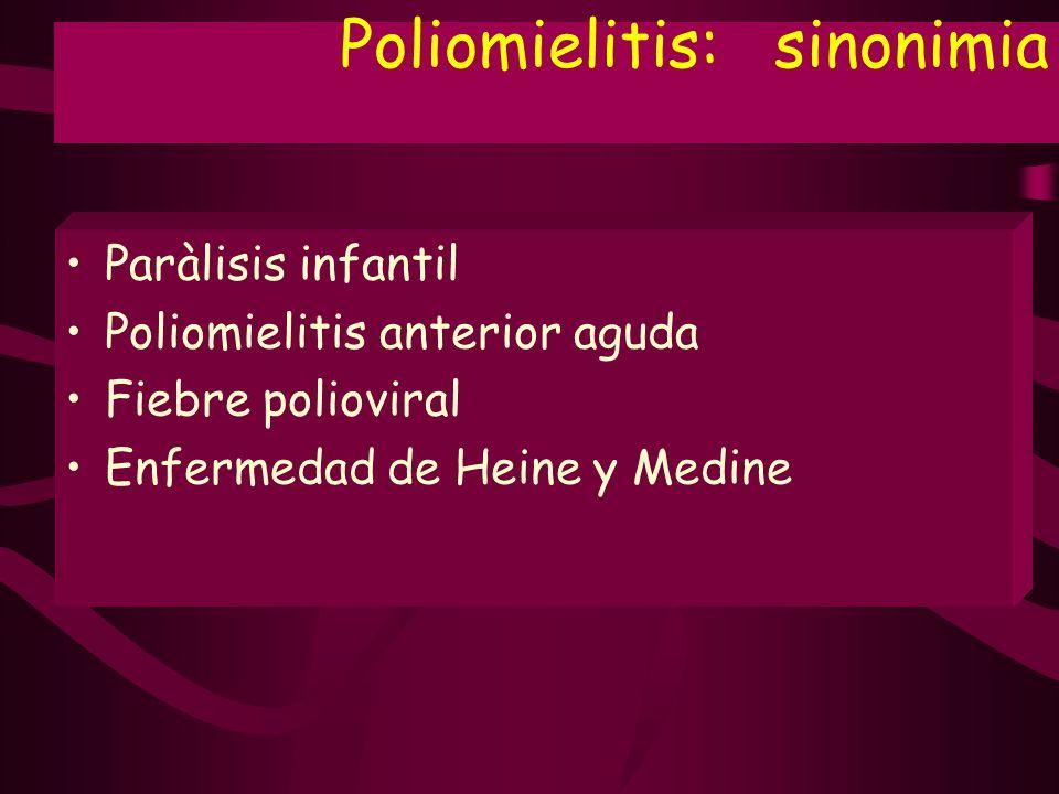 Poliomielitis: sinonimia Paràlisis infantil Poliomielitis anterior aguda Fiebre polioviral Enfermedad de Heine y Medine