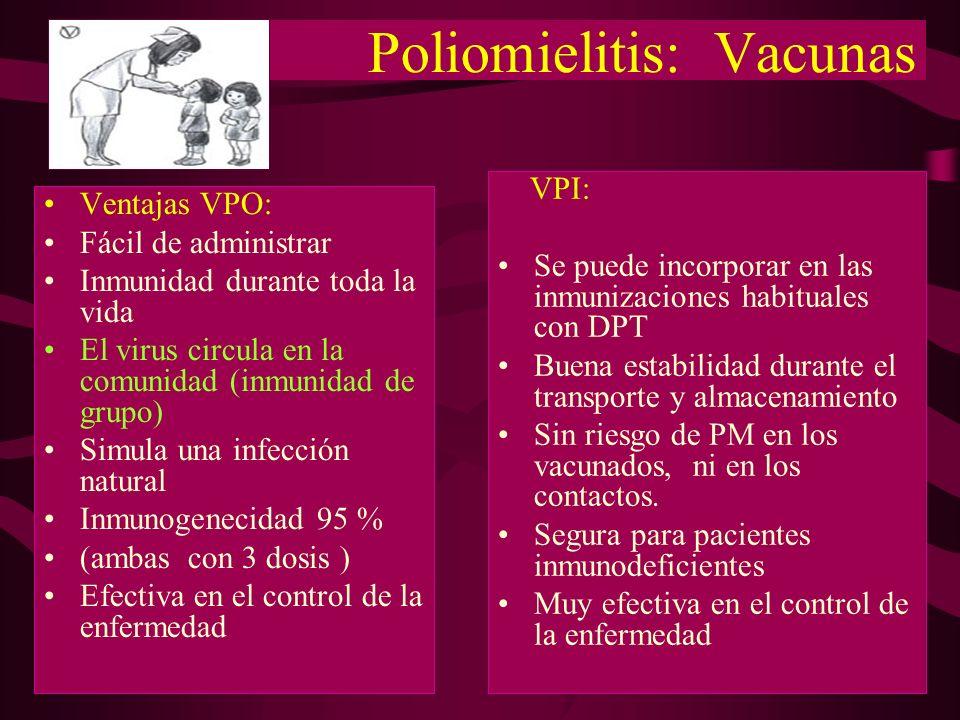 Poliomielitis: Vacunas Ventajas VPO: Fácil de administrar Inmunidad durante toda la vida El virus circula en la comunidad (inmunidad de grupo) Simula