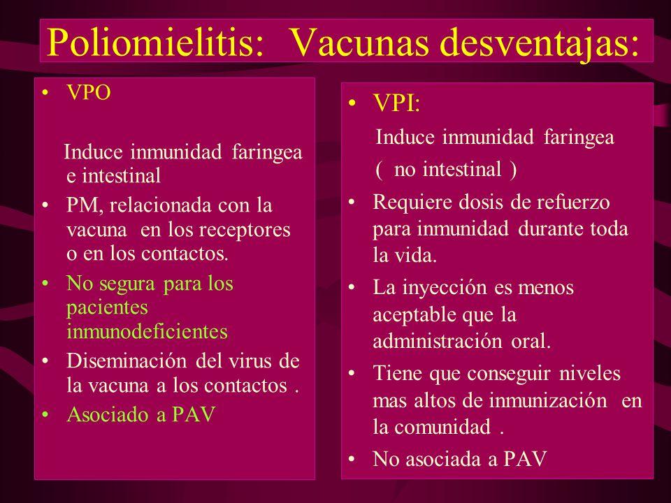 Poliomielitis: Vacunas desventajas: VPO Induce inmunidad faringea e intestinal PM, relacionada con la vacuna en los receptores o en los contactos. No
