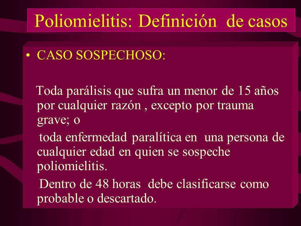 Poliomielitis: Definición de casos CASO SOSPECHOSO: Toda parálisis que sufra un menor de 15 años por cualquier razón, excepto por trauma grave; o toda